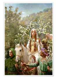 Póster  Queen Guinevere's Maying - John Collier