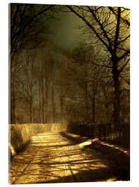Cuadro de metacrilato  A Moonlit Lane, with two lovers by a gate - John Atkinson Grimshaw