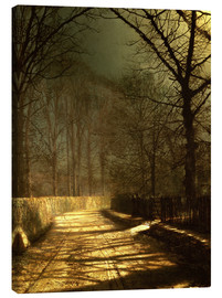 Lienzo  A Moonlit Lane, with two lovers by a gate - John Atkinson Grimshaw