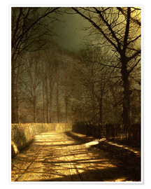 Póster  A Moonlit Lane, with two lovers by a gate - John Atkinson Grimshaw