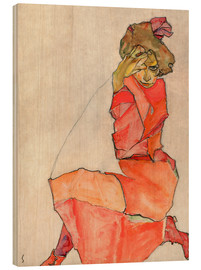 Madera  Kneeling woman in red dress - Egon Schiele