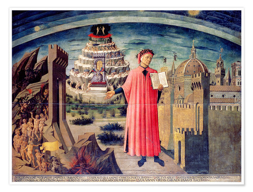 Póster Dante and his poem the Divine Comedy