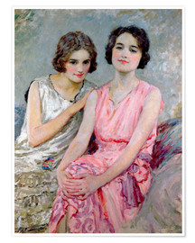 Póster  Two Young Women Seated - William Henry Margetson