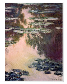 Póster  Waterlilies with Weeping Willows - Claude Monet