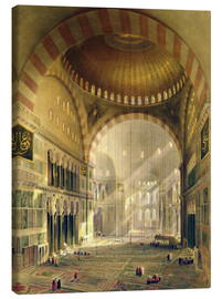 Lienzo  Haghia Sophia, plate 24: interior of the central dome with lowered chandeliers, engraved by Louis Ha - Gaspard Fossati