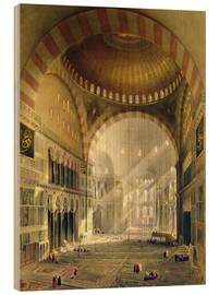 Madera  Haghia Sophia, plate 24: interior of the central dome with lowered chandeliers, engraved by Louis Ha - Gaspard Fossati