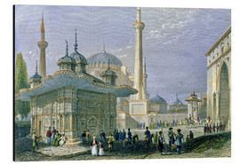 Cuadro de aluminio  Fountain and Square of St. Sophia, Istanbul - William Henry Bartlett