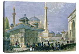 Lienzo  Fountain and Square of St. Sophia, Istanbul - William Henry Bartlett