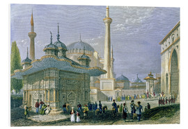 Cuadro de PVC  Fountain and Square of St. Sophia, Istanbul - William Henry Bartlett
