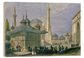 Cuadro de madera  Fountain and Square of St. Sophia, Istanbul - William Henry Bartlett