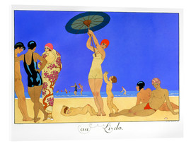 Cuadro de metacrilato  At the Lido, engraved by Henri Reidel, 1920 - Georges Barbier
