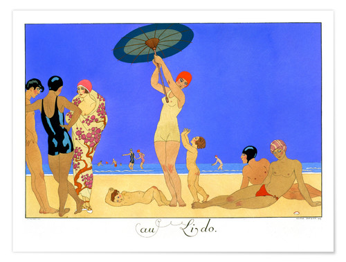 Póster At the Lido, engraved by Henri Reidel, 1920