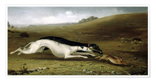 Póster Hare Coursing in a Landscape, 1870