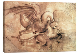 Lienzo  Fight between a Dragon and a Lion - Leonardo da Vinci