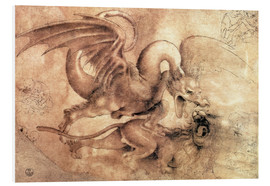 Cuadro de PVC  Fight between a Dragon and a Lion - Leonardo da Vinci