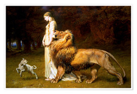 Póster  Una and the Lion, from Spenser's Faerie Queene - Briton Riviere