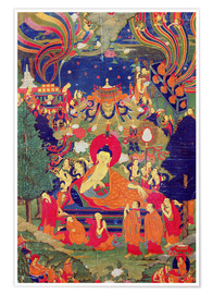 Póster  Thangka of Parinirvana of the Buddha - Tibetan School