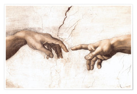 Póster  Sistin. Chapel: Creation of Adam, detail of hands - Michelangelo