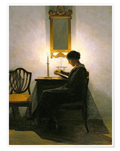 Póster Woman reading by candlelight