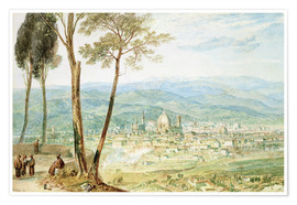 Póster  Florence from the road to Fiesole - Joseph Mallord William Turner