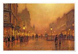 Póster  A Street at Night - John Atkinson Grimshaw
