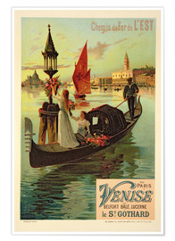 Póster  Reproduction of a Poster Advertising the Eastern Railway from Paris to Venice - Frederic Hugo D´Alesi