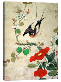 Lienzo  Bird and apples - Wang Guochen