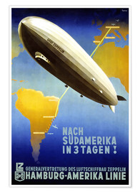 Póster  Zeppelin Graf, ruta Hamburgo América - Travel Collection