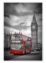 Póster  LONDON Red Bus and Big Ben - Melanie Viola