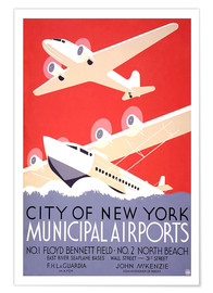 Póster City of New York - Municipal Airports