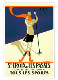 Póster  Skiing in Sainte-Croix - Travel Collection