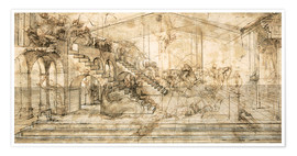 Póster  Perspective Study for the background of the Adoration of the Magi - Leonardo da Vinci