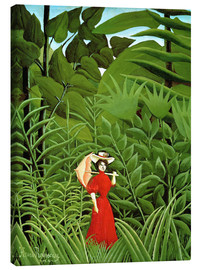Lienzo  Woman in red in forest - Henri Rousseau