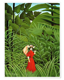 Póster Woman in red in forest