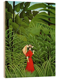 Cuadro de madera  Woman in red in forest - Henri Rousseau