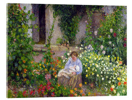 Cuadro de metacrilato  Mother and Child in the Flowers - Camille Pissarro