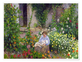 Póster  Mother and Child in the Flowers - Camille Pissarro