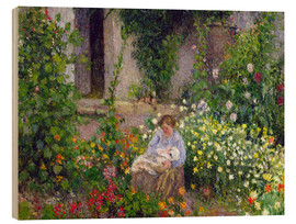 Cuadro de madera  Mother and Child in the Flowers - Camille Pissarro