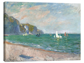 Lienzo  Boats under the cliffs of Pourville - Claude Monet