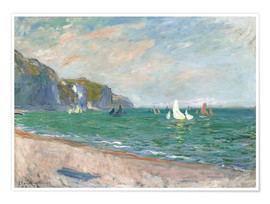 Póster  Boats under the cliffs of Pourville - Claude Monet