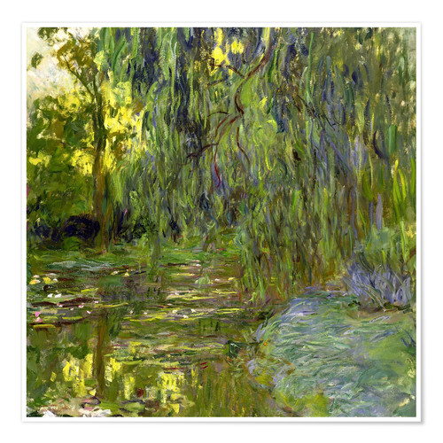 Póster Weeping Willow, The lily pond in Giverny