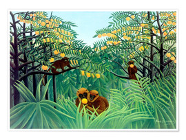 Póster  Monkey in the jungle - Henri Rousseau