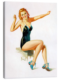 Lienzo  Pin Up - Seated Redhead in Swimsuit - Al Buell