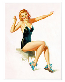 Póster  Pin Up - Seated Redhead in Swimsuit - Al Buell