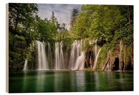 Cuadro de madera  Paradise Waterfall in Plitvice - Andreas Wonisch