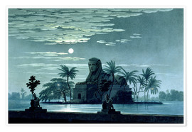 Póster Garden scene with the Sphinx in the moonlight
