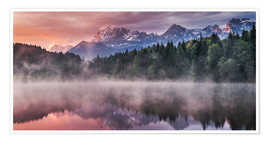 Póster Sunrise before Alps Panorama Karwendel