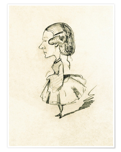 Póster Young girl in profile with a sharp nose, c.1858