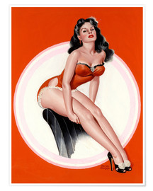 Póster  Brunette in Red Bathing Suit - Peter Driben