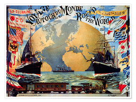 Póster  'Voyage Around the World', poster for the 'Compagnie Generale Transatlantique', late 19th century - Jakob Emil Schindler